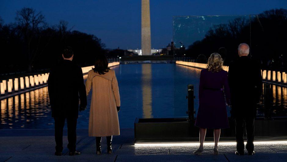 Joe Biden, Kamala Harris visit DC COVID-19 memorial on inauguration eve